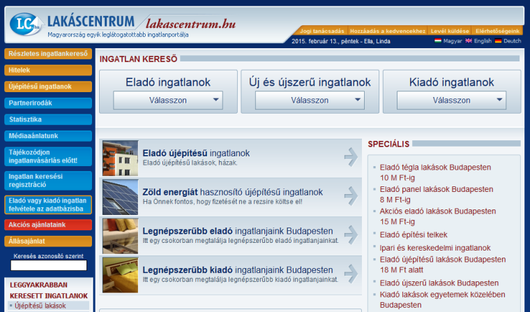 Lakáscentrum.hu screenshot
